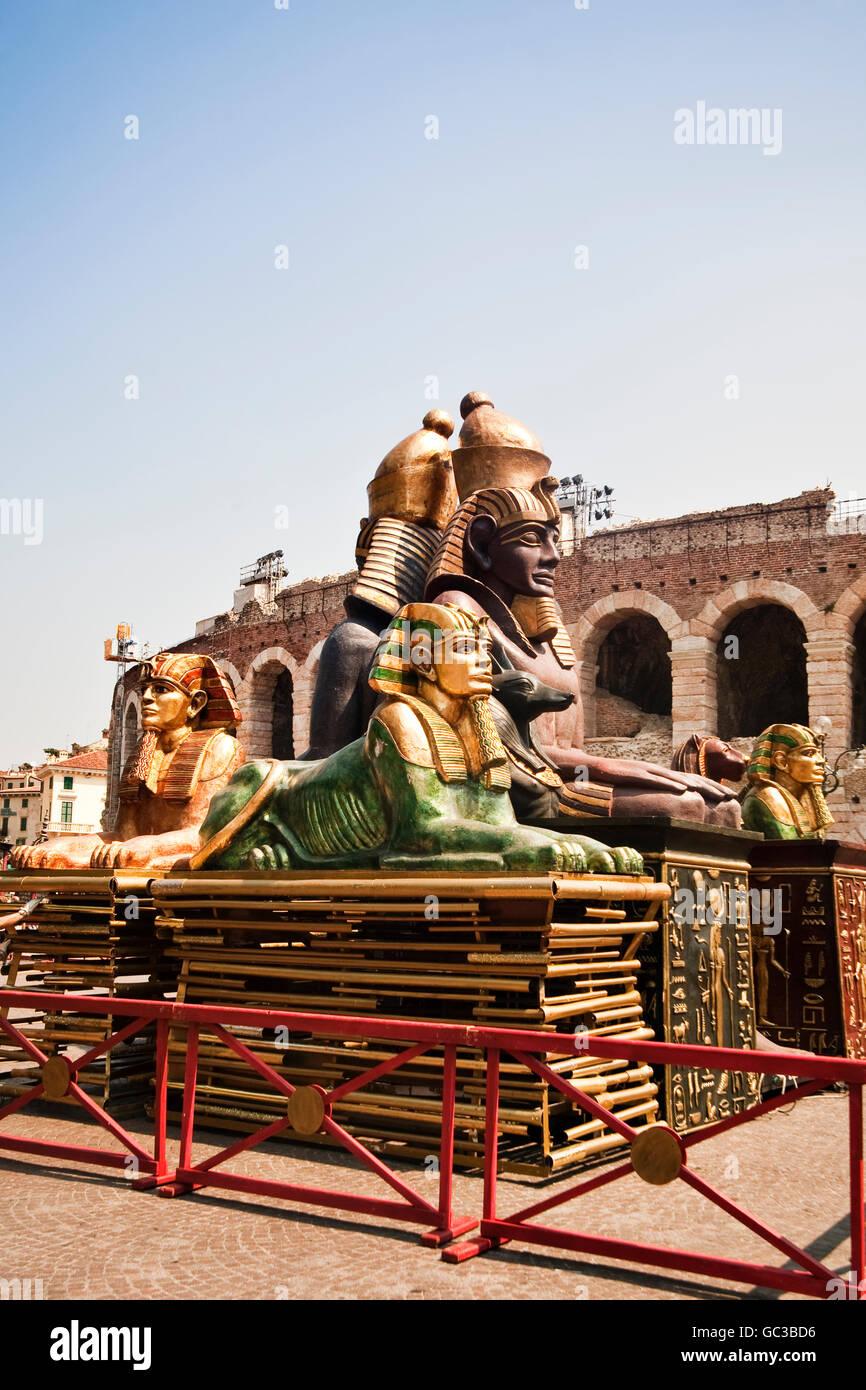 Theatrical props outside the Arena di Verona, Roman amphitheatre in Verona, Italy, Europe - Stock Image