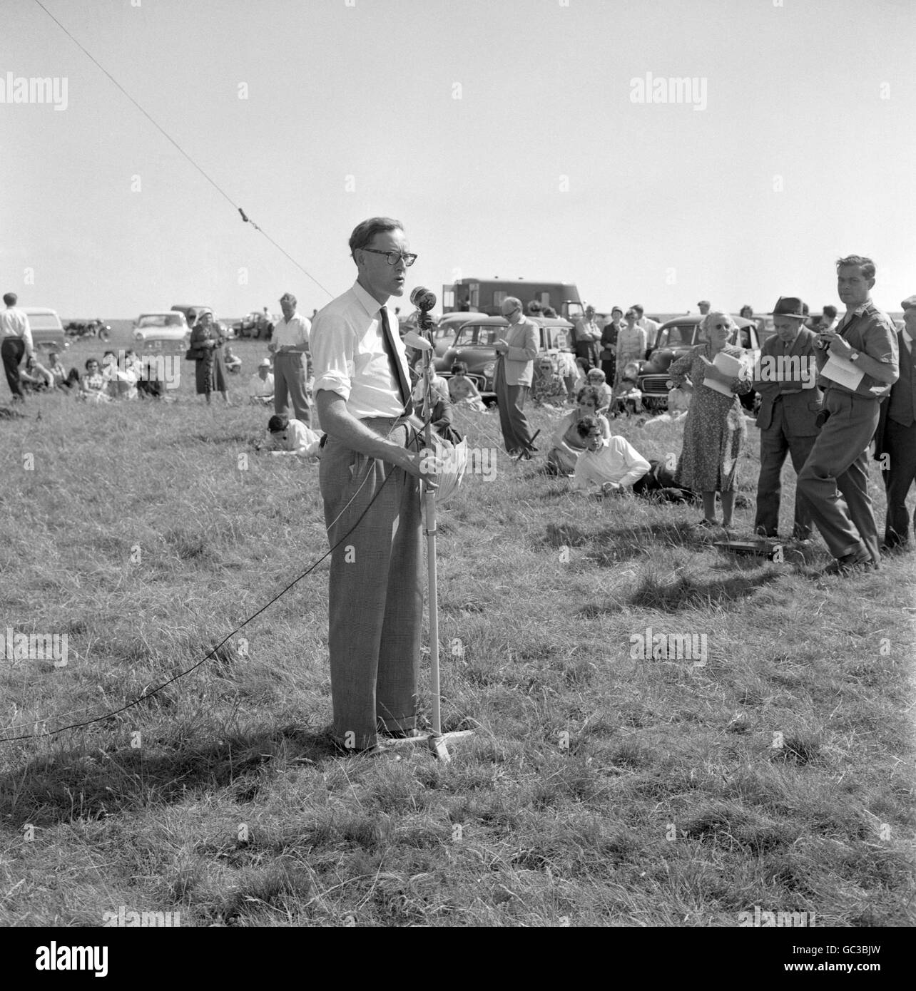 Politics - Association for the Restoration of Imber Rally - White Horse Hill Stock Photo