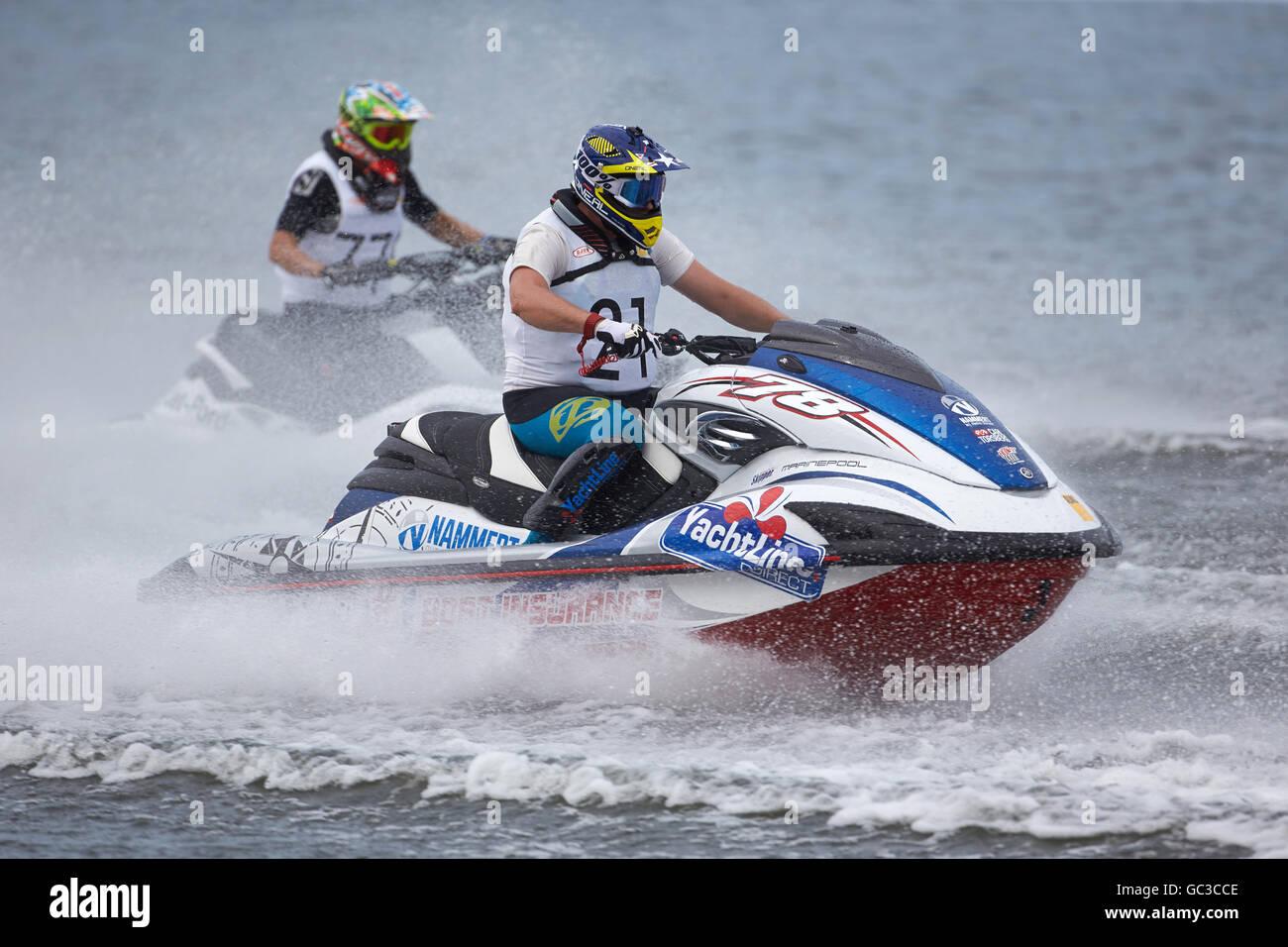 Jet ski races, Brodenbach, Rhineland-Palatinate, Germany - Stock Image