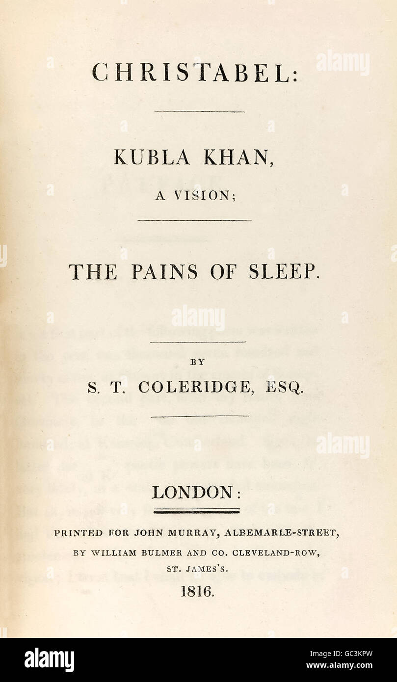 Title page from 'Christabel: Kubla Khan, A Vision; The Pains of Sleep.' by Samuel Taylor Coleridge (1772-1834) pamphlet Stock Photo