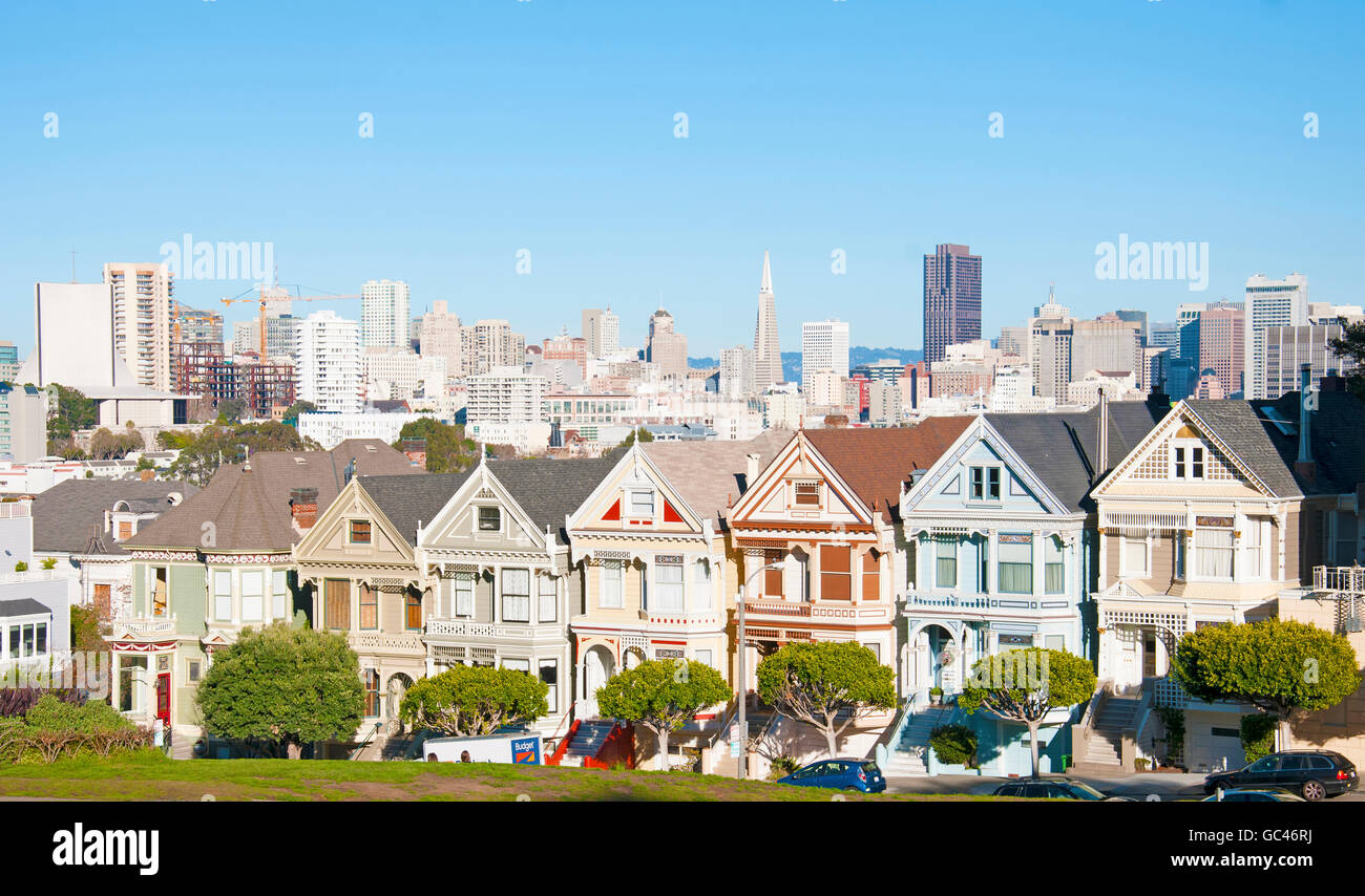 Cityscape of the painted ladies in San Francisco - Stock Image
