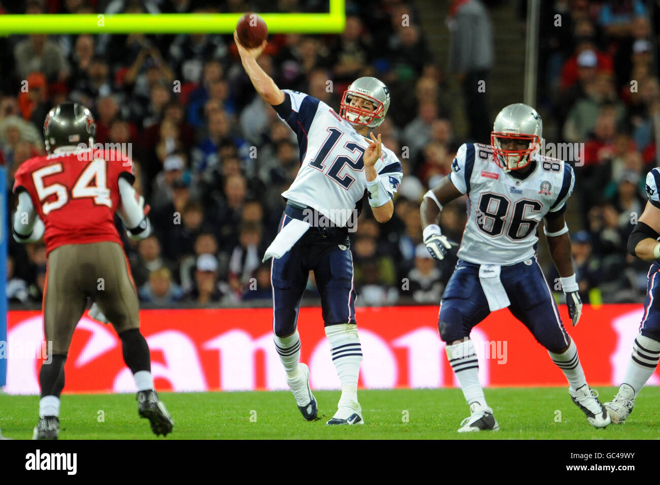 American Football - NFL - New England Patriots v Tampa Bay Buccaneers - Wembley Stadium - Stock Image
