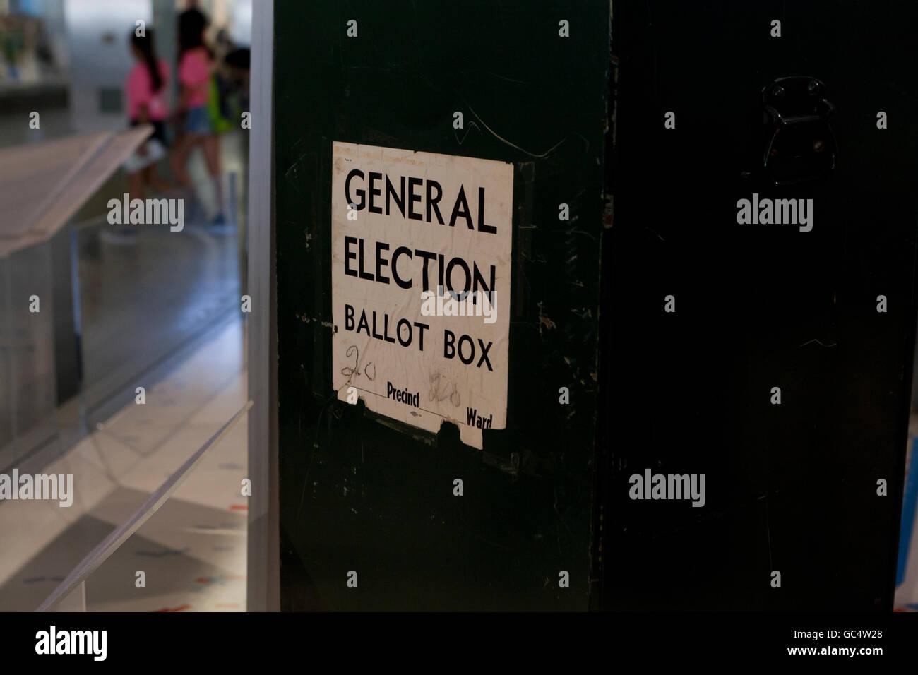 Vintage General Election ballot box - USA - Stock Image