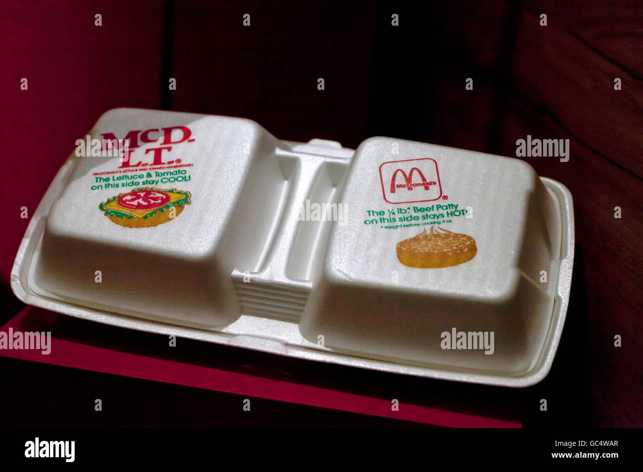 Vintage McDonald's polystyrene foam clamshell sandwich containers - USA - Stock Image