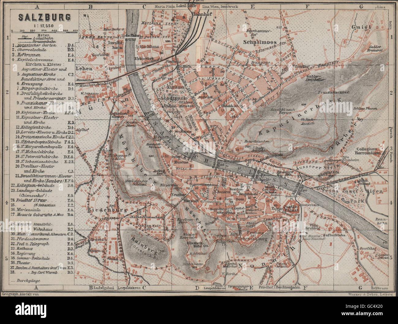 SALZBURG vintage town city plan stadtplan Austria sterreich karte