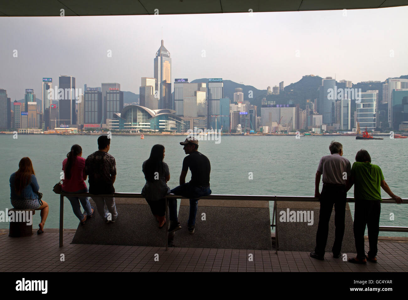 View across Victoria Harbour from Tsim Sha Tsui Stock Photo