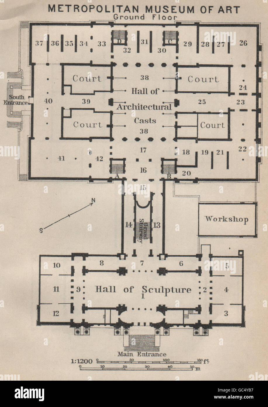 Metropolitan Museum Of Art Ground Floor New York Baedeker 1909 Antique Map Stock Photo Alamy