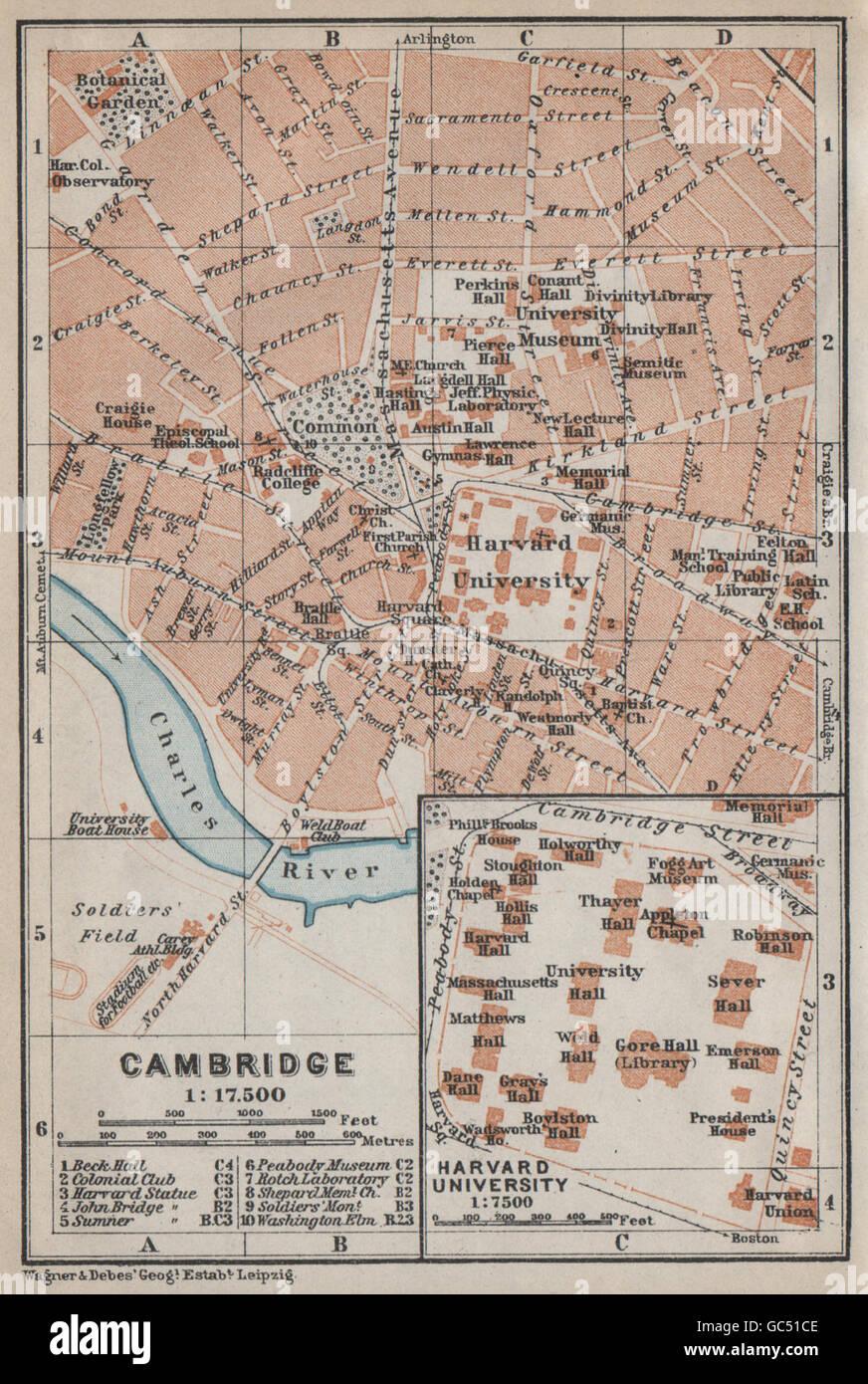 CAMBRIDGE, Machusetts town city plan. Inset Harvard University ... on