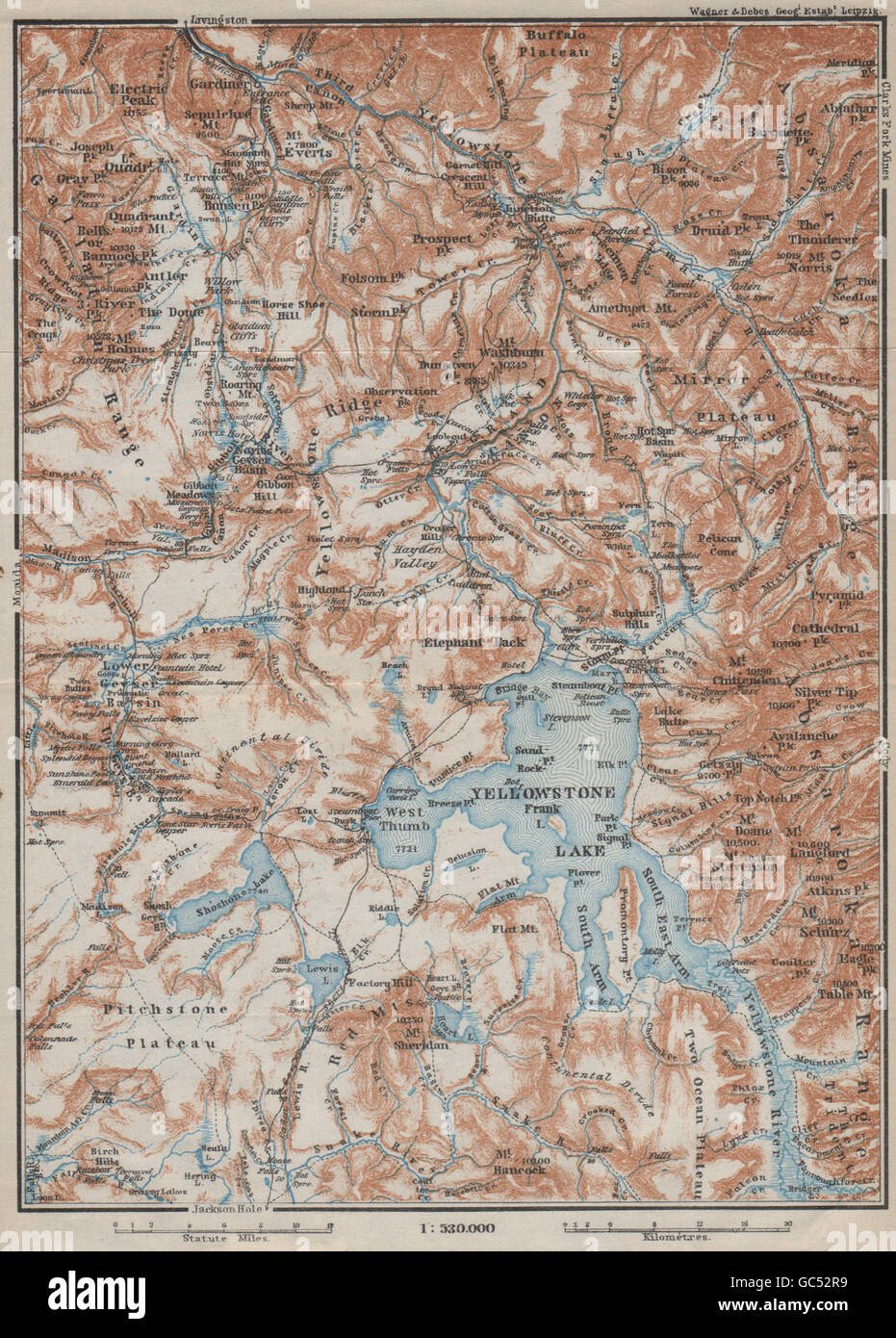 Topographic Map Of Yellowstone.Yellowstone National Park Topo Map Wyoming Baedeker 1909 Stock