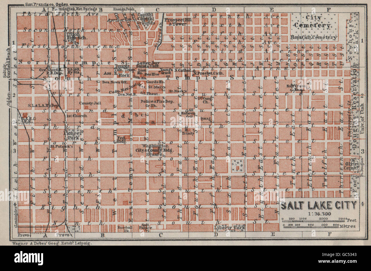 SALT LAKE CITY antique town city plan. Utah. BAEDEKER, 1909 antique ...
