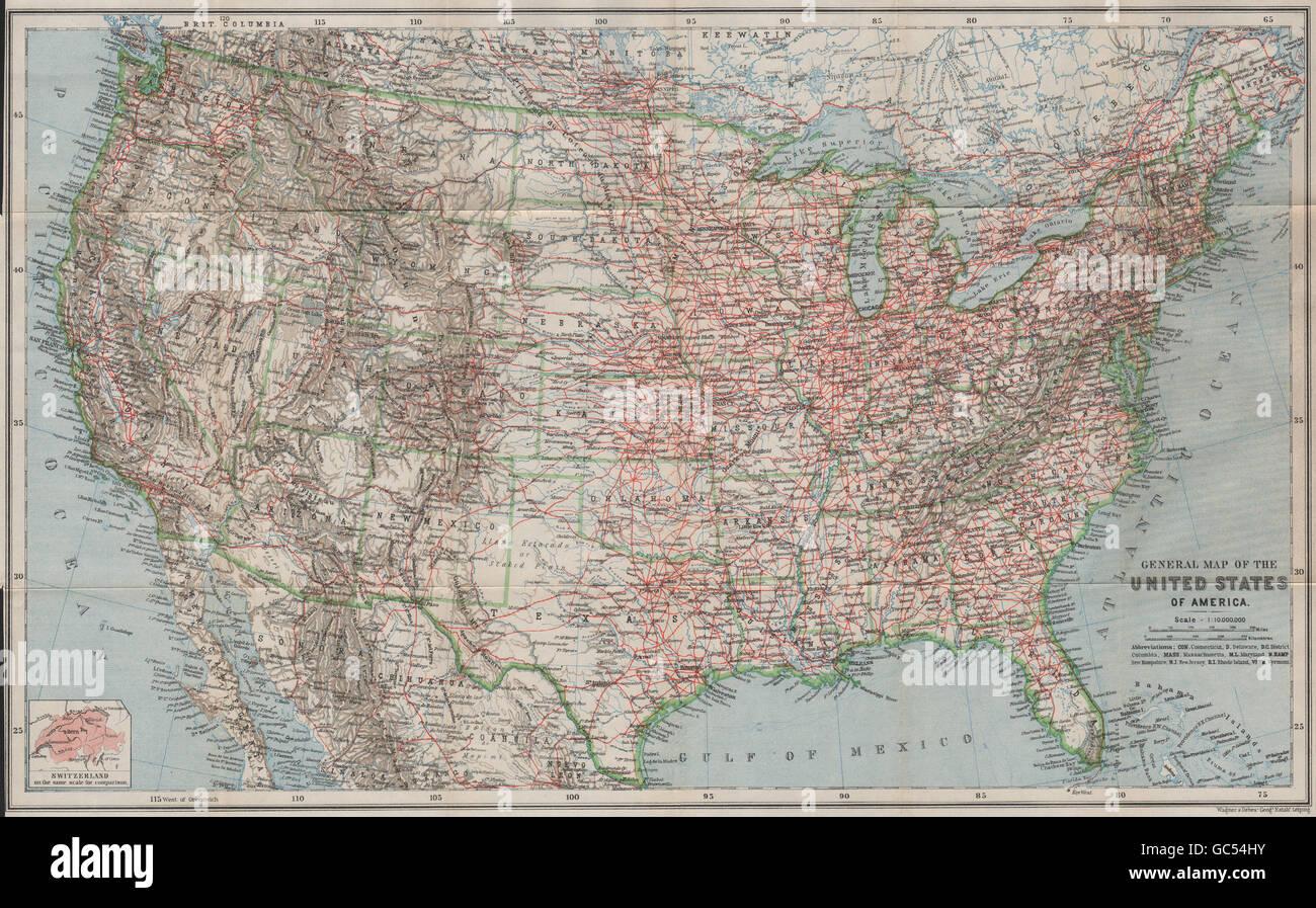 BAEDEKER 1909 old Railroads UNITED STATES OF AMERICA General map USA