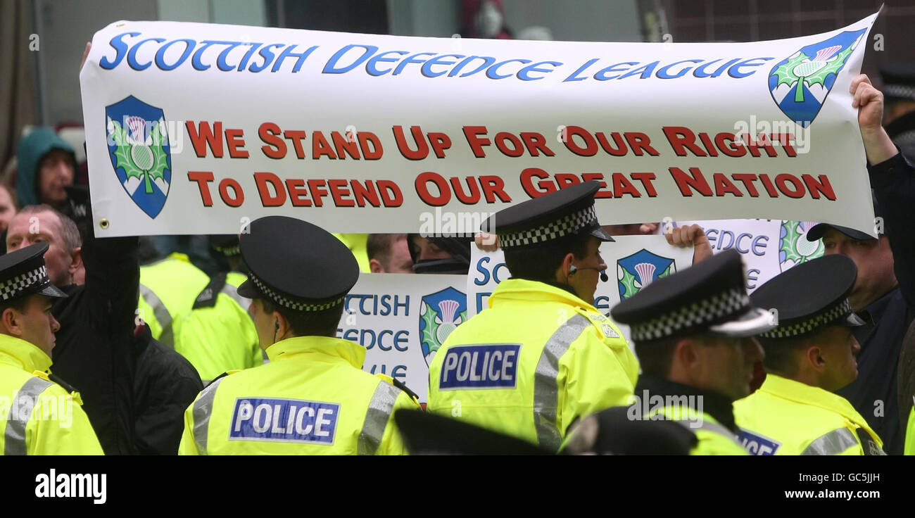 Scottish Defence League protest - Stock Image