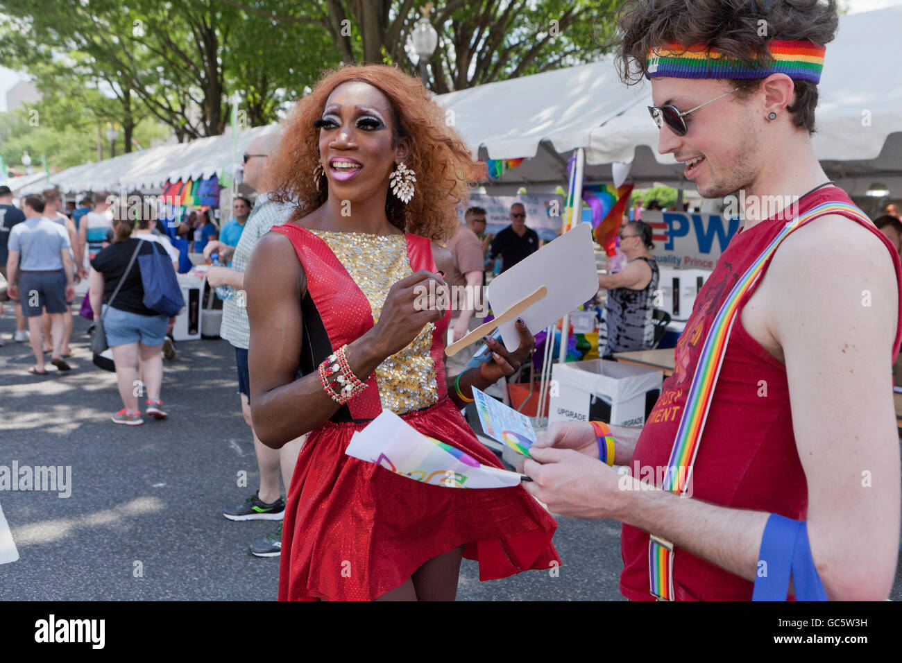 Black drag queen promotion model at an LGBT event - USA - Stock Image