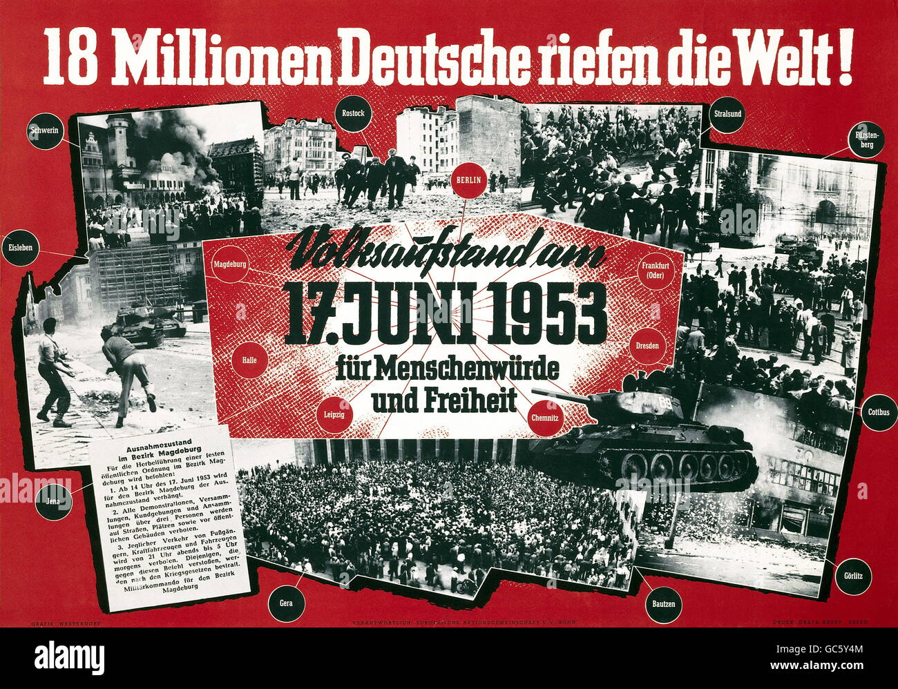 geography / travel, Germany, Berlin, riot 17th June 1953, poster of retrospection, '18 million crying into the - Stock Image