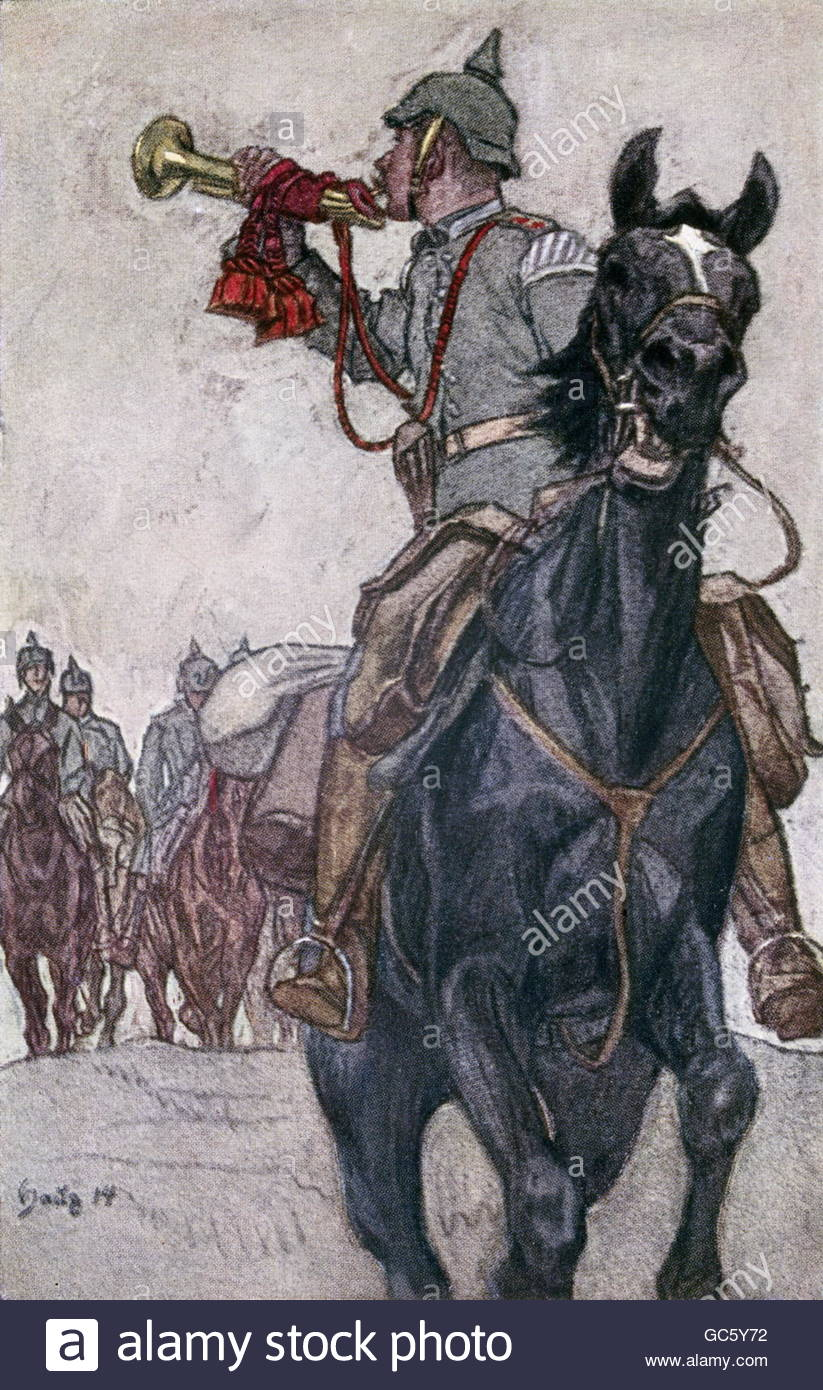 military, Germany, cavalry, trumpeter, coloured drawing by Haug, 1914, Artist's Copyright must also be cleared - Stock Image