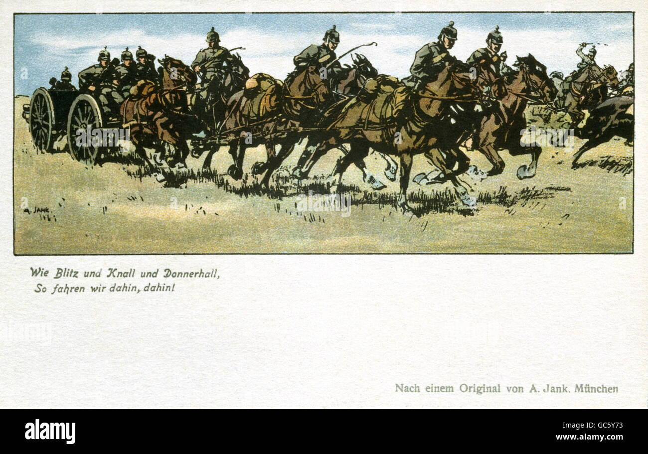 military, Germany, field artillery, horse drawn field gun, 1914, coloured drawing by Angelo Jank (1868 - 1940), - Stock Image
