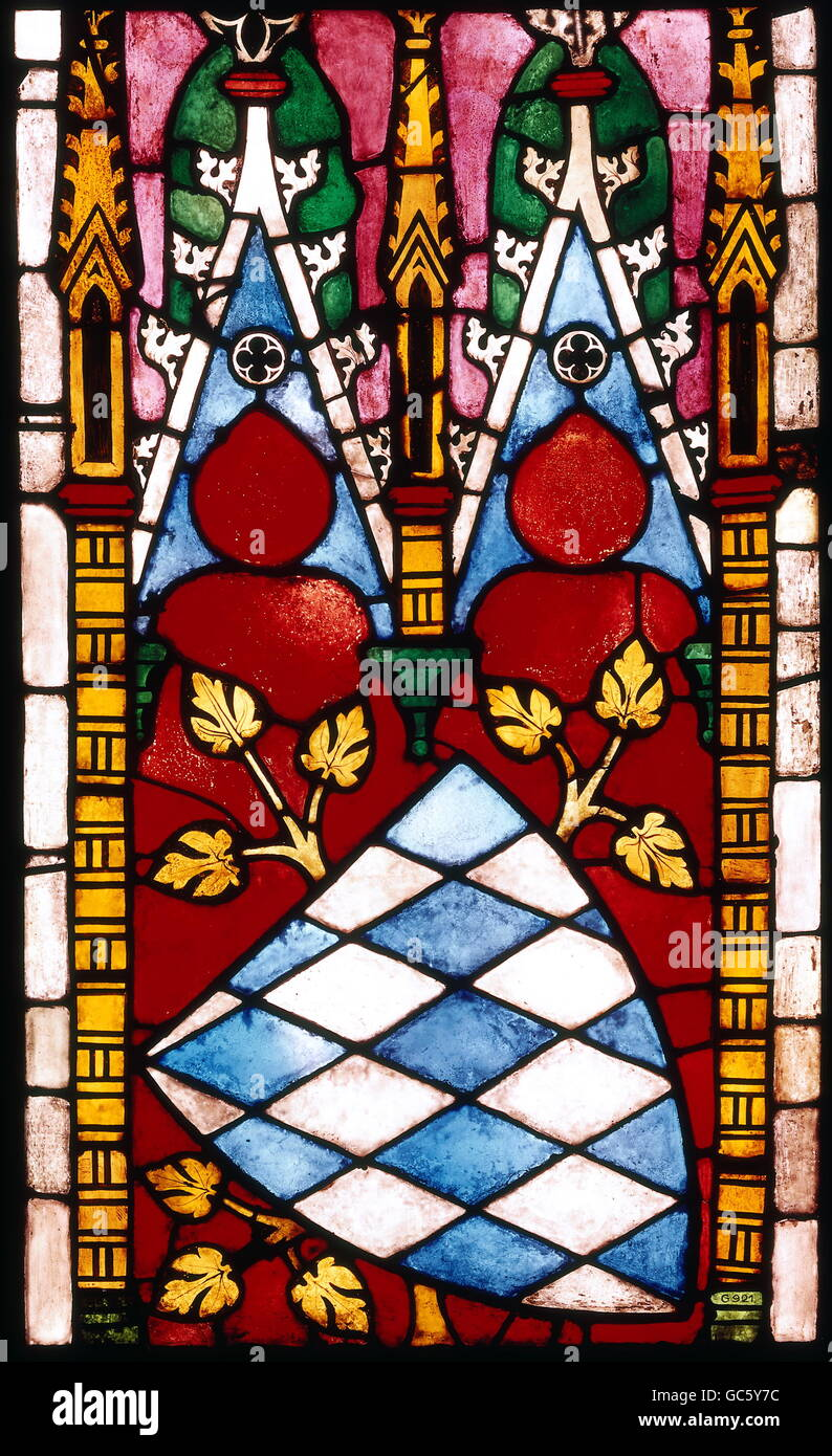 heraldry, coat of arms, Bavaria, shield, glass painting, window from Seligenthal monastery, circa 1310 / 1320, Additional - Stock Image