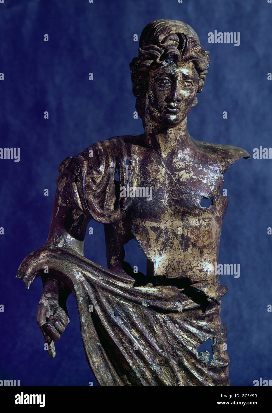 fine arts, ancient world, Roman Empire, sculpture, bronze genius, gold-plated, sculpture, Augsburg, 2th/3th century - Stock Image