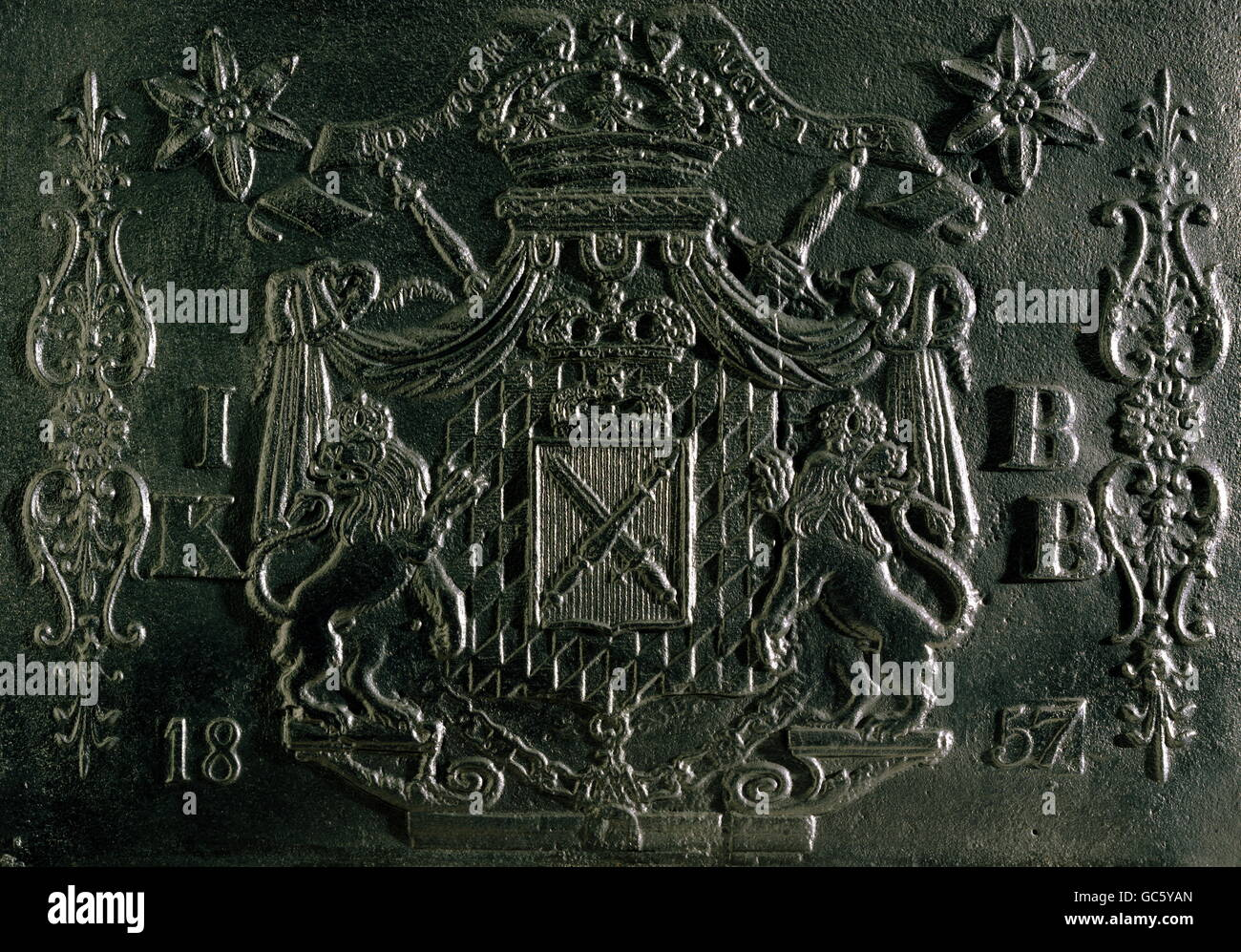 heraldry, coat of arms, Germany, Bavarian kingdom, relief, cast iron, oven plate, ironworks of the former Archbishop, - Stock Image