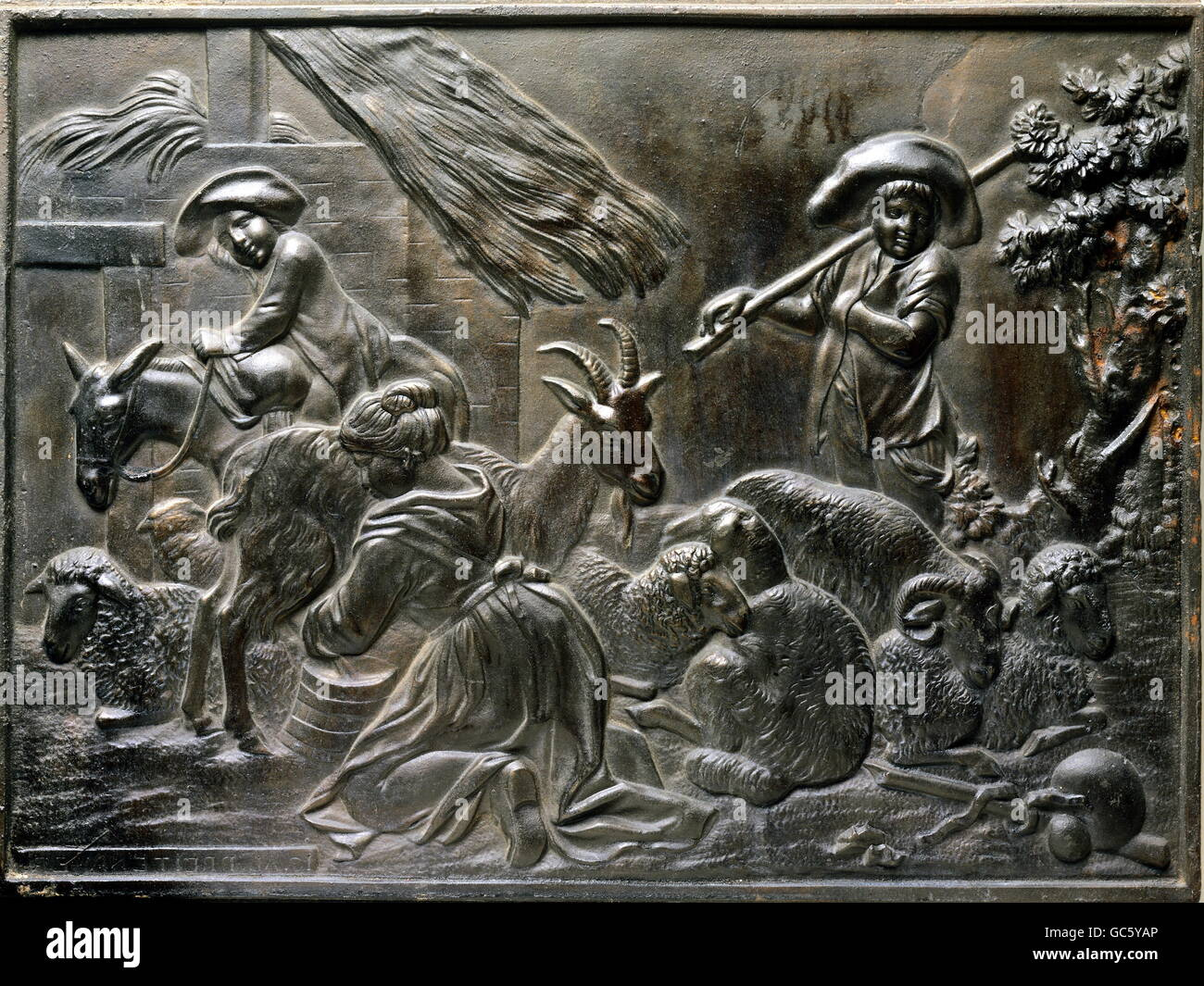 agriculture, animal farming, livestock breeding, goat-herder, relief, cast iron, ironworks of Prince Bishop, Obereichstaett, - Stock Image