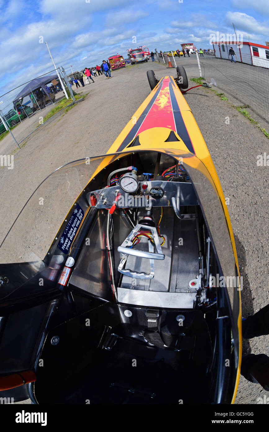 drivers eye view of top fuel dragster at york dragway race track yorkshire  united kingdom -