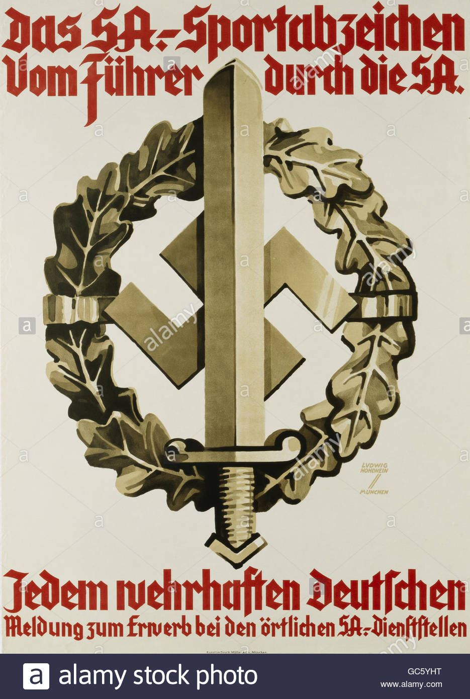 Nazism, National Socialism, organisations, Sturmabteilung (SA), poster 'Das SA-Sportabzeichen' (The SA Sports - Stock Image