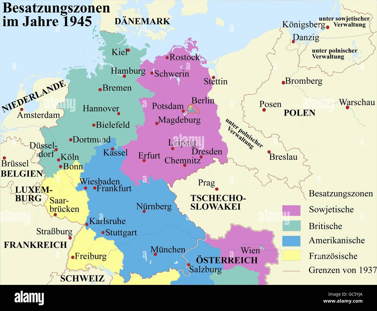 cartography historical maps modern times germany and austria zones of occupation 1945