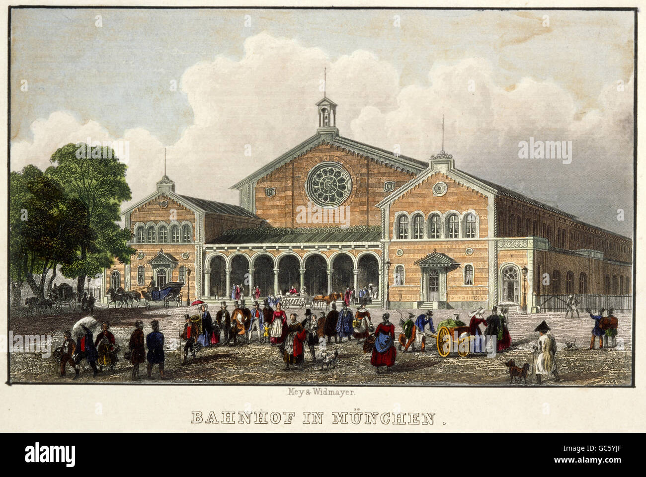 geography / travel, Germany, Munich, buildings, main station, built 1847 - 1849 by Friedrich Buerklein, exterior - Stock Image