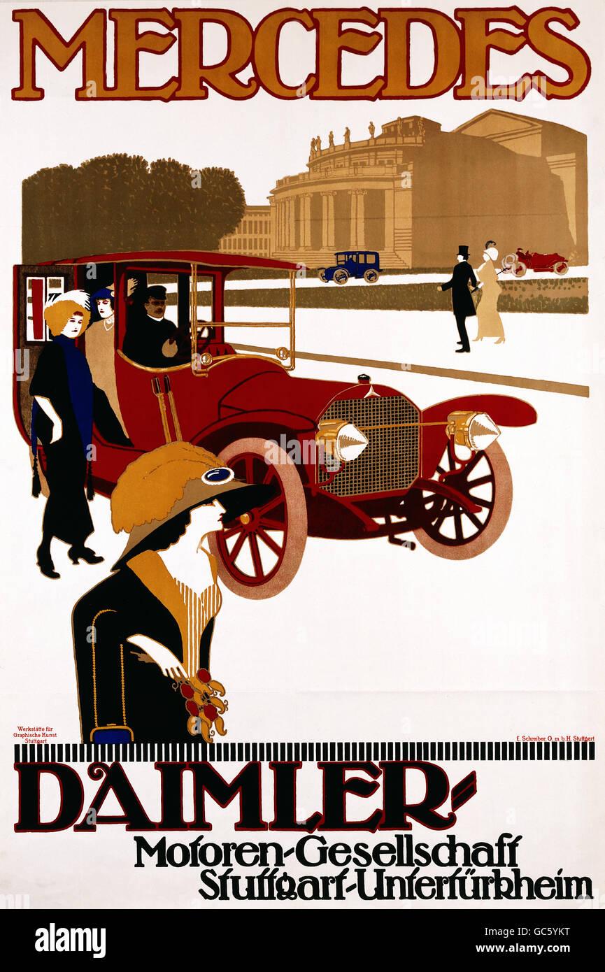 advertising, cars, 'Mercedes' of Daimler engine company, poster, workshop for graphical fine arts, Stuttgart, - Stock Image