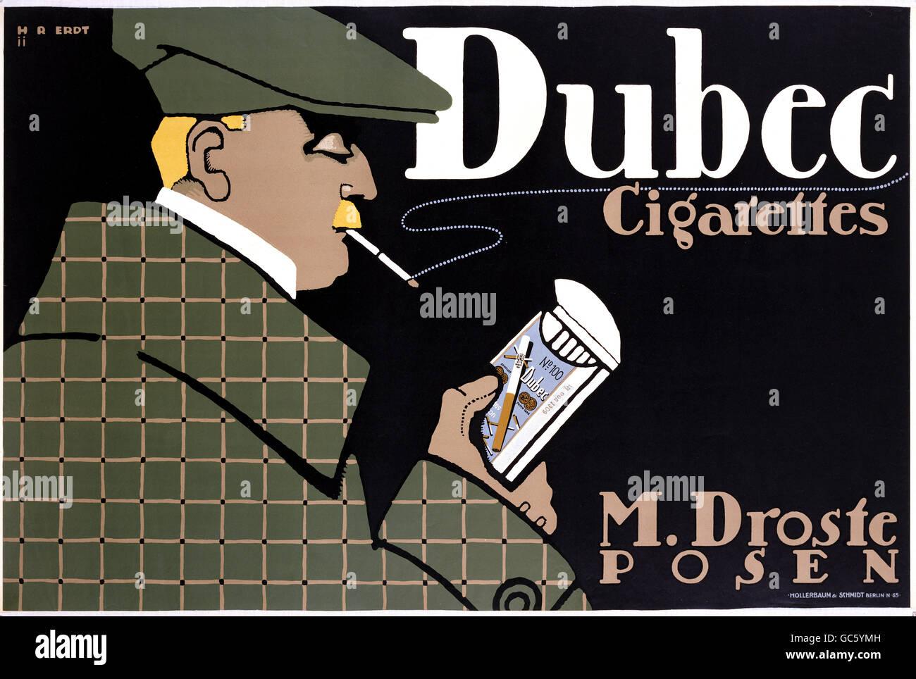 advertising, tobacco, cigarettes, 'Dubec Cigarettes', M. Droste, Posen, poster, circa 1910, Additional-Rights - Stock Image