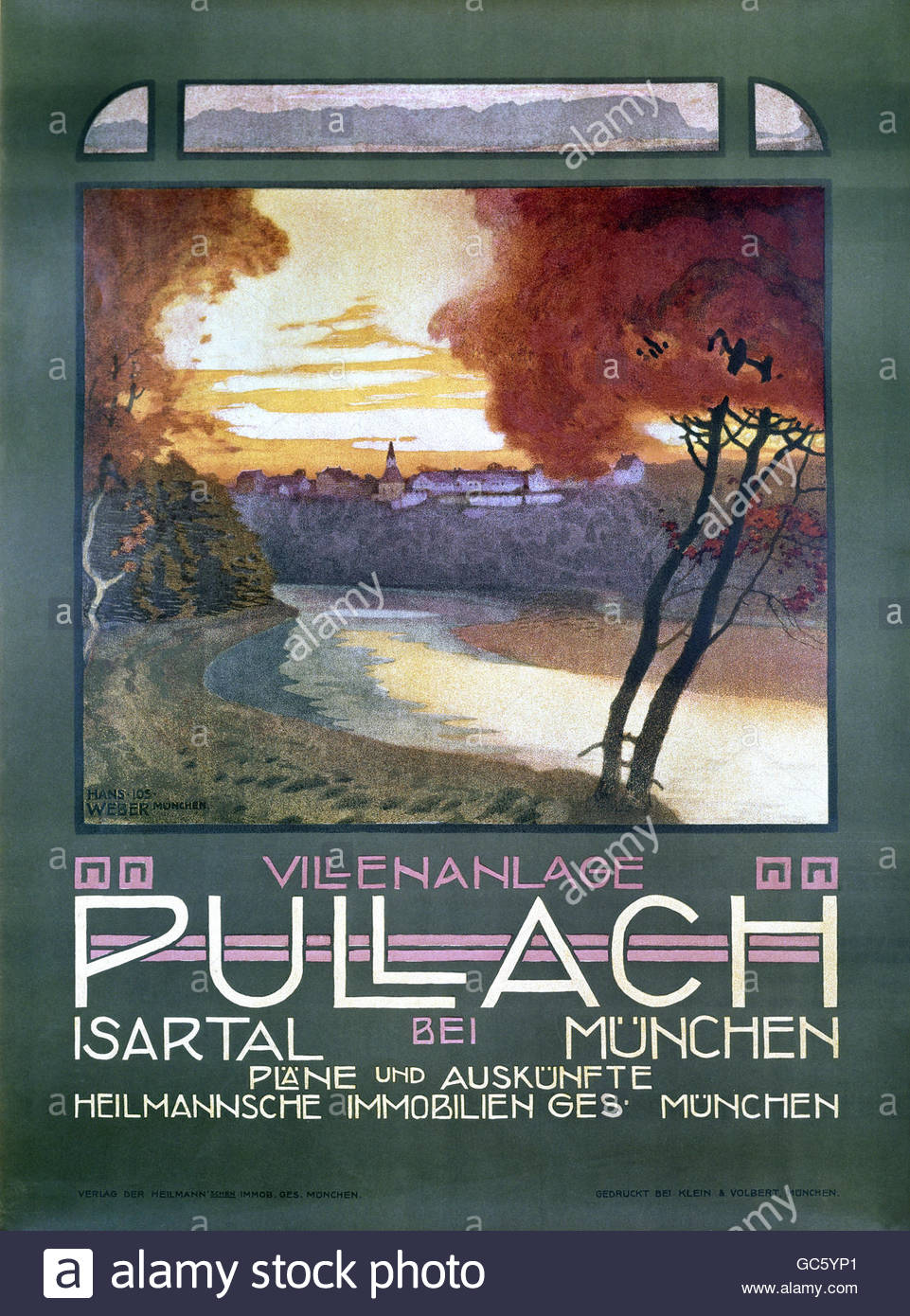 advertising, real property, exclusive residential area, Pullach, Isar Valley, poster, Heilmannsche Immobliengesellschaft, - Stock Image