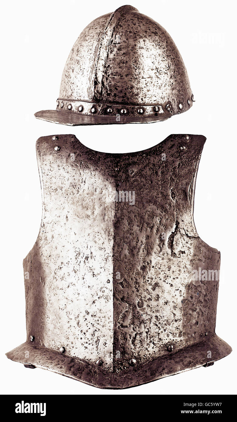 weapons, armour, bulletproof helmet and cuirass, German, mid 17th century, Additional-Rights-Clearences-NA - Stock Image