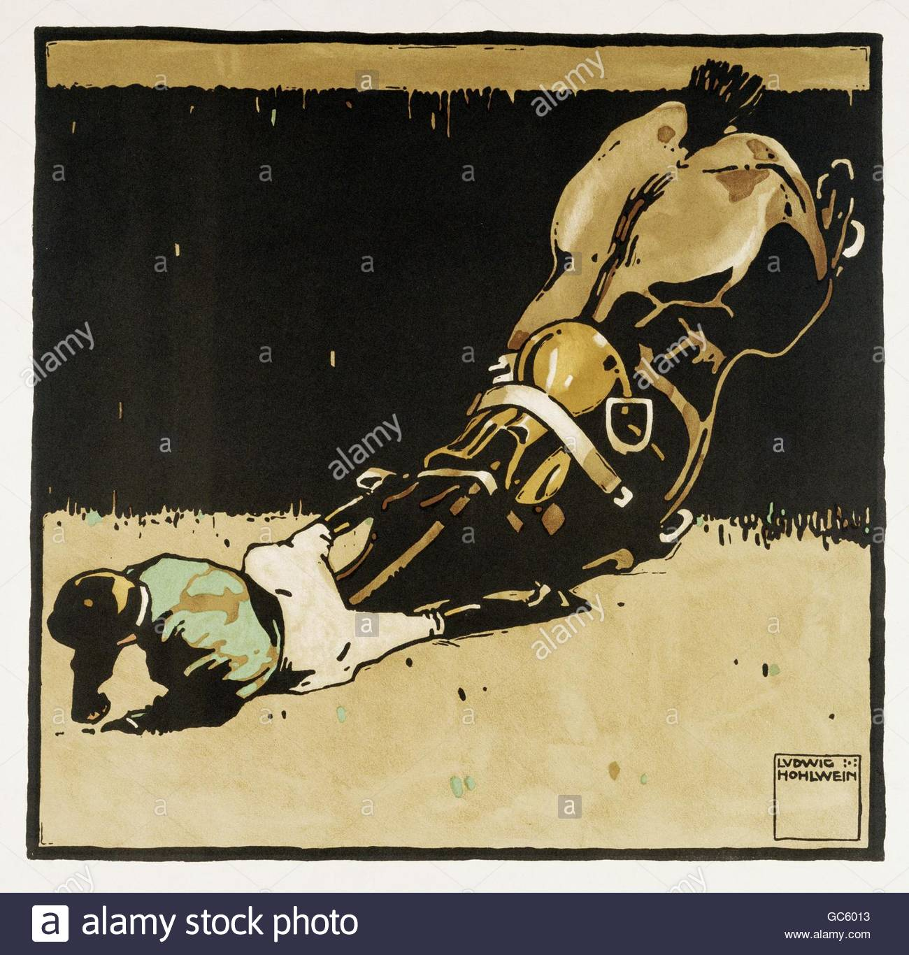 sports, riding, Fallen Jockey at steeplechase race, circa 1910, lithographic print from the series 'Turf' - Stock Image