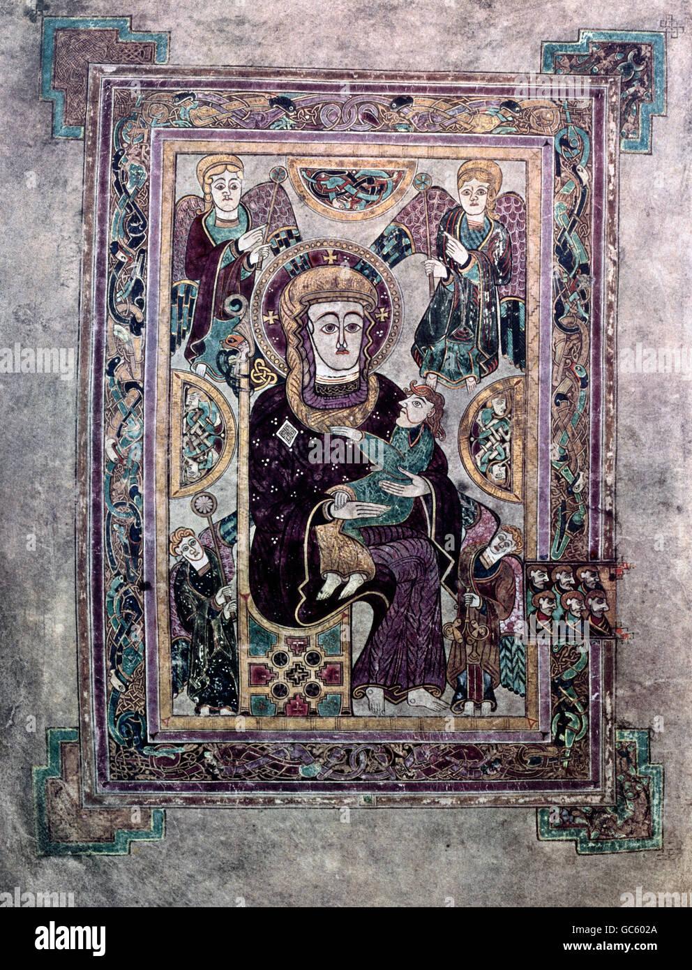 literature, books, Book of Kells, Virgin Mary with child, illumination, Ireland, circa 800, Saint Trinity College, - Stock Image