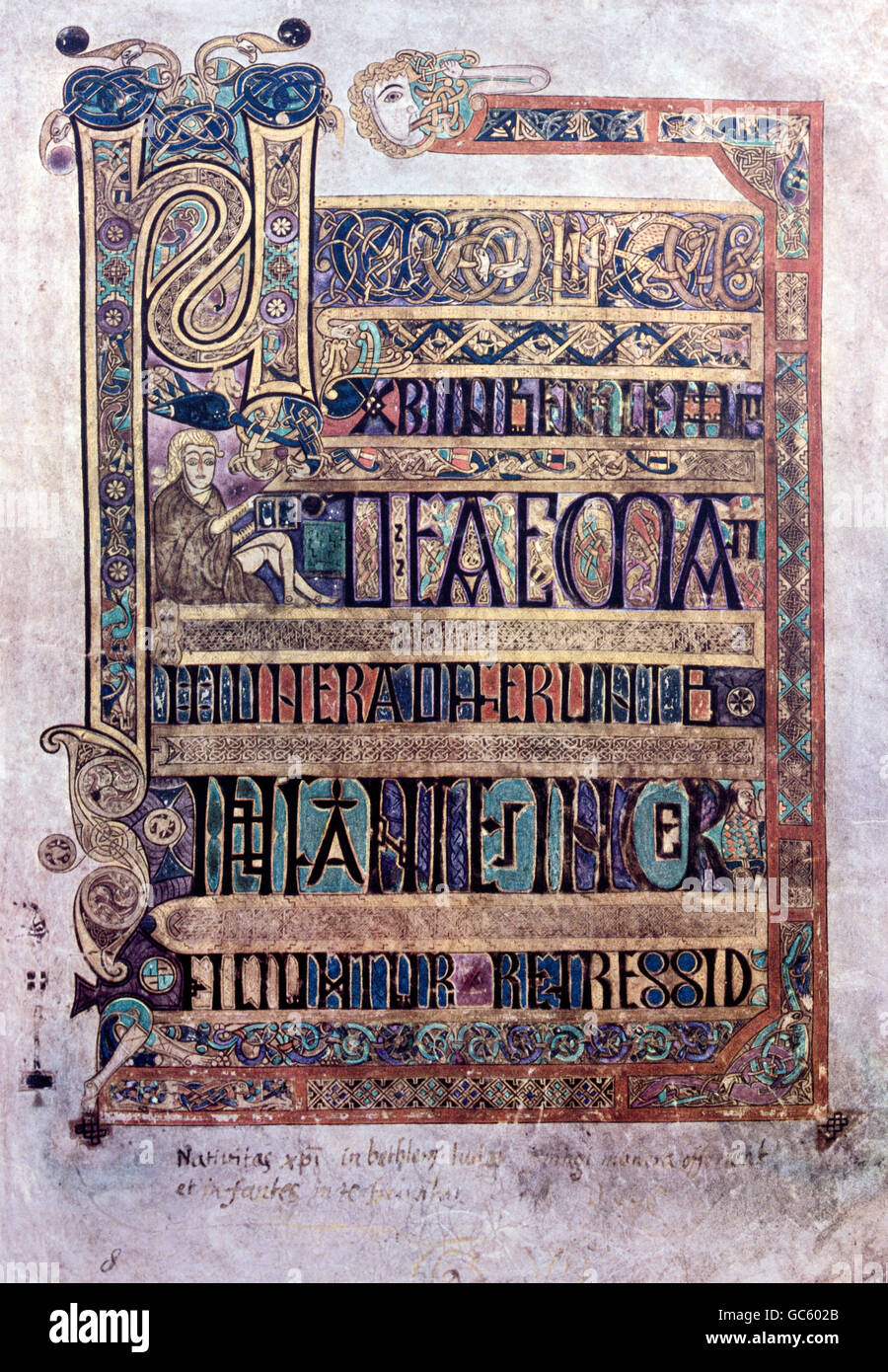 literature, books, Book of Kells, Birth of Christ, illumination, Ireland, circa 800, Saint Trinity College, Dublin, - Stock Image