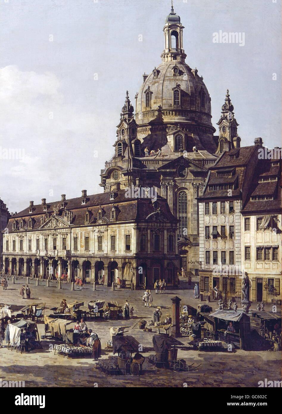 "fine arts, Bellotto, Bernardo, (called: Canaletto), (20.5.1722 - 17.11.1780), painting, ""Der Neumarkt in Dresden Stock Photo"