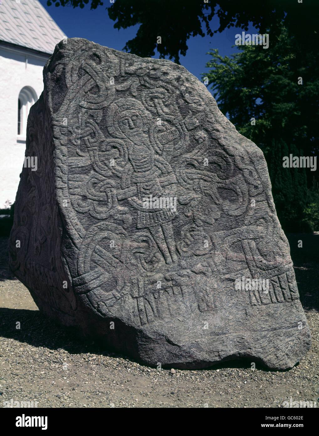 fine arts, nordic arts, rune stones, Harald stone, side with picture of Jesus Christ, circa 980, stone, Jelling, - Stock Image