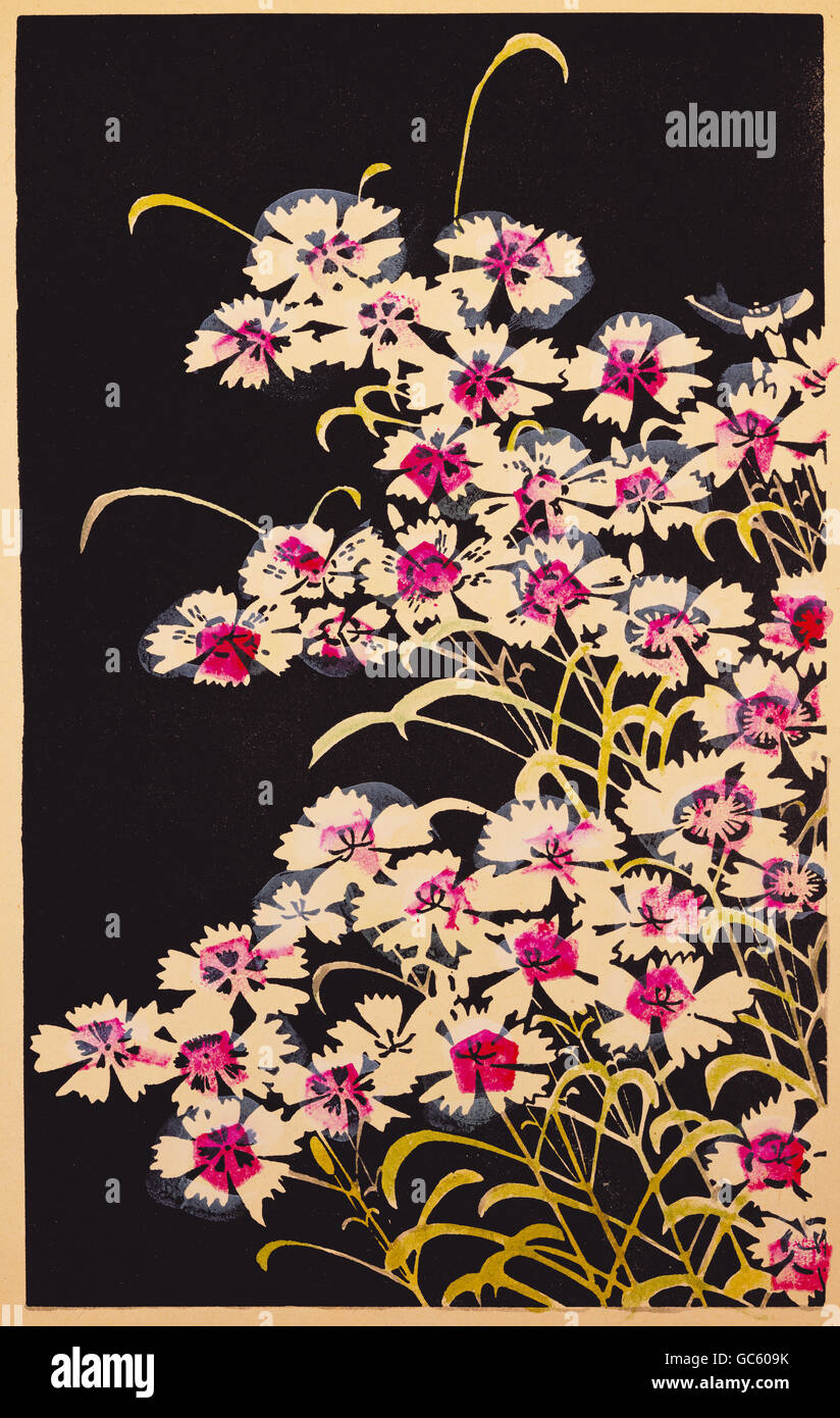 fine arts, prints, woodblock print, 'Pink Flowers', by Ito Jakuchu (1716 - 1800), from the album 'Gempo - Stock Image