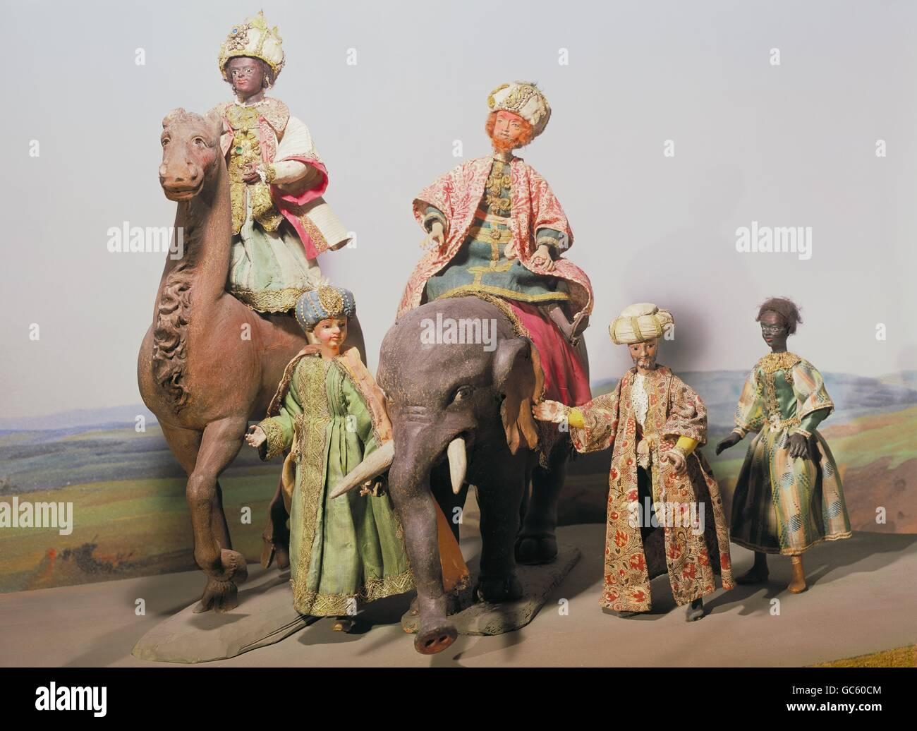 Christmas, Nativity scene, crib figurines, the Three Magi, wood carving, Wang, Bavaria, circa 1700, Additional-Rights - Stock Image