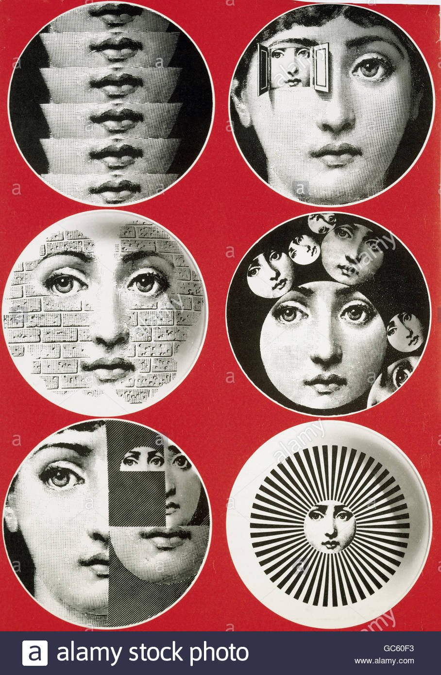 fine arts, porcelain / china, six motives from series of treated woman `s head, design by Piero Fornasetti (1913 - Stock Image