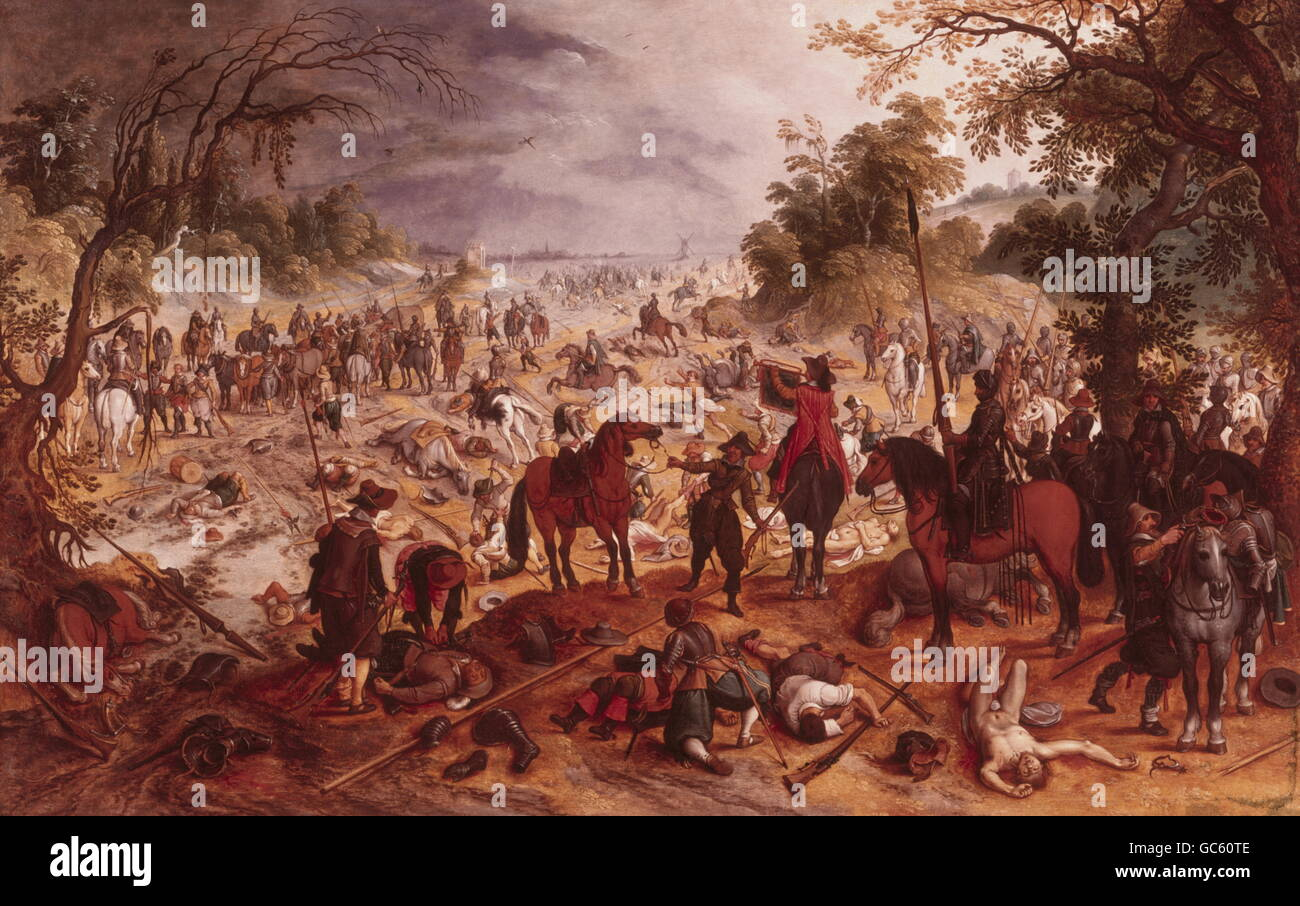 fine arts, Vrancx, Sebastian, 1573 - 1647, painting, 'Cavalry Battle between Flemings and French', oak wood, - Stock Image
