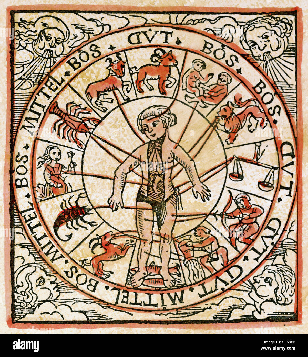 medicine, treatment, bloodletting, venesection and zodiac, woodcut South Germany, circa 1500, Additional-Rights - Stock Image