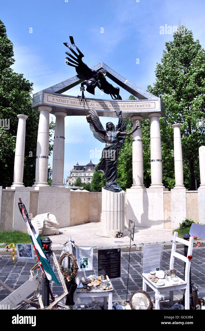 Monument commemorating the occupation of Hungary by Nazi Germany, Budapest Hungary Stock Photo