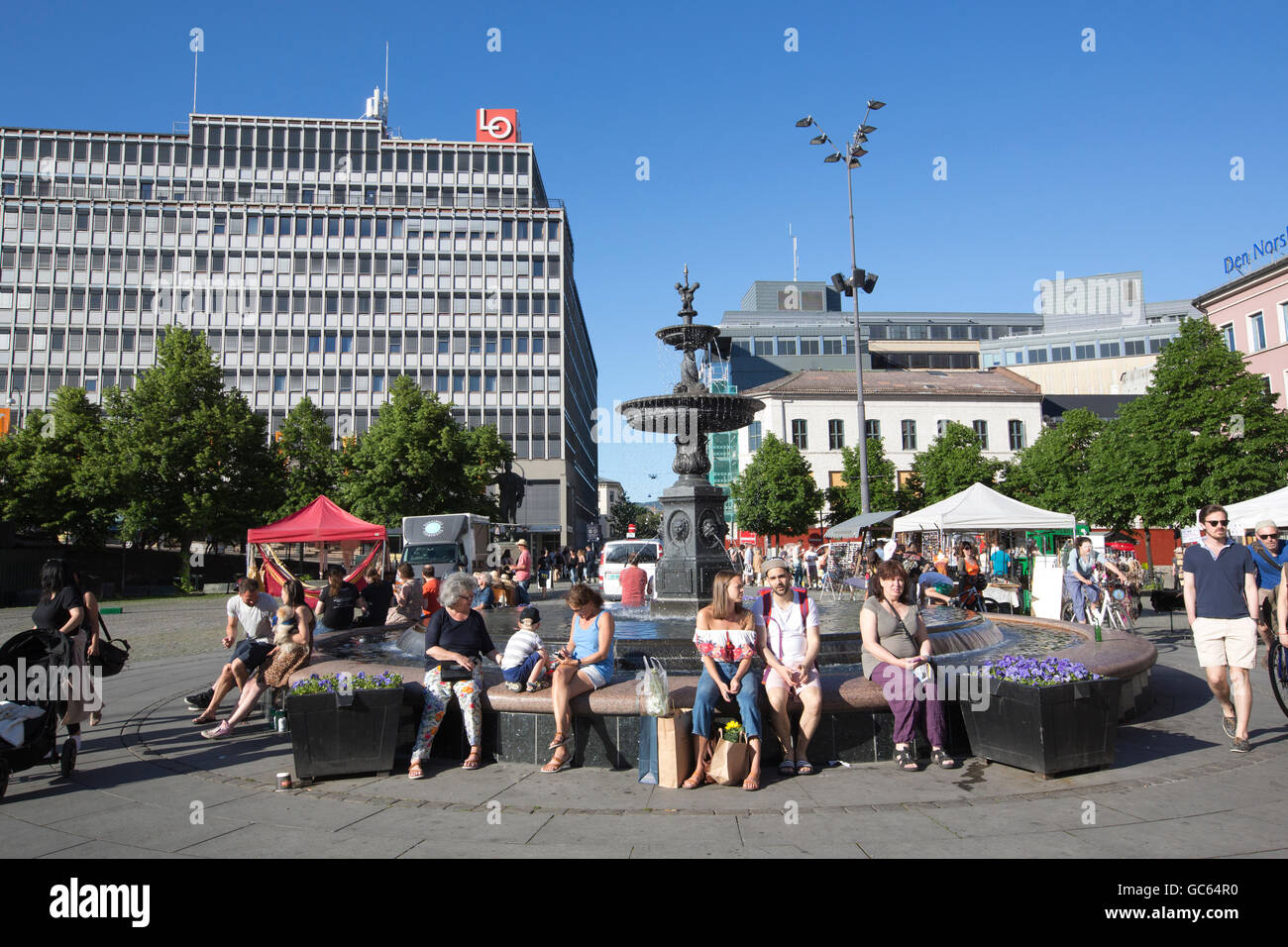Youngstoget Square, Oslo Sentrum, Oslo, Norway - Stock Image