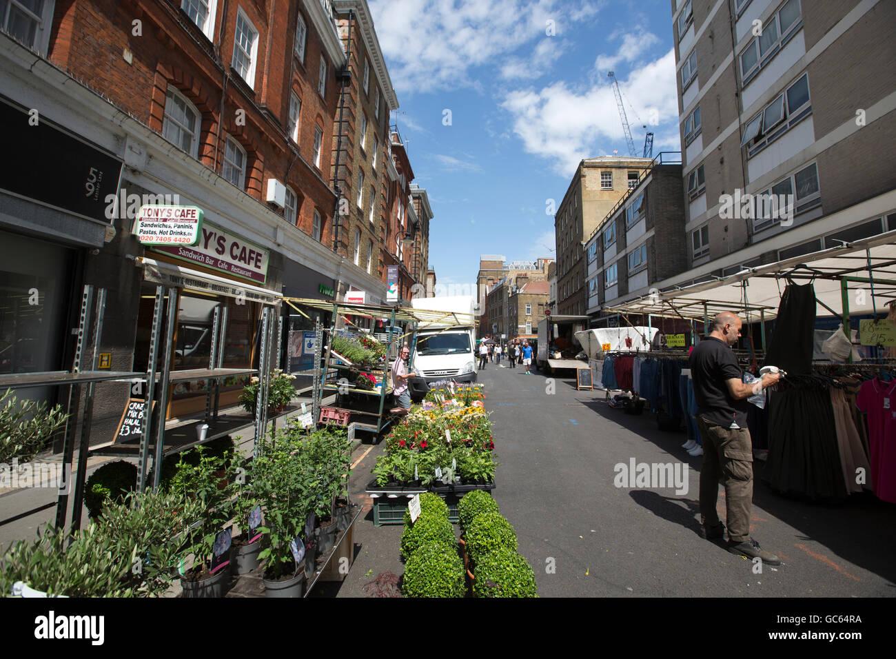 Leather Lane Market, Leather Lane, Holborn, City of London, England, UK - Stock Image