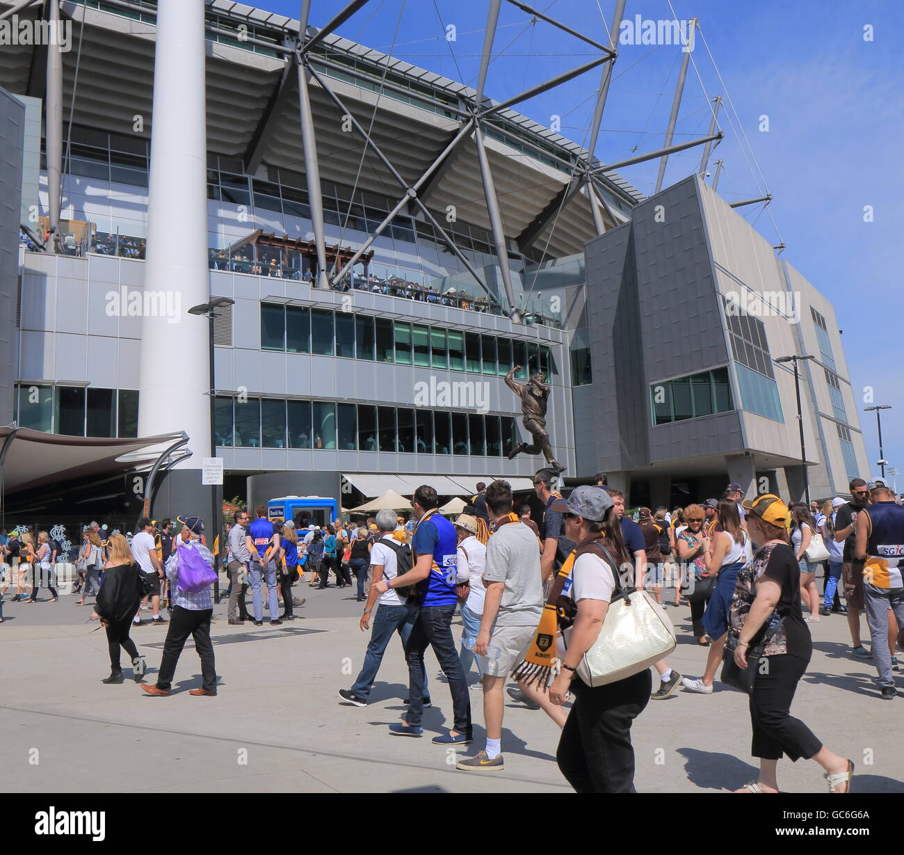 People visit MCG for AFL ground final game in Melbourne Australia. - Stock Image