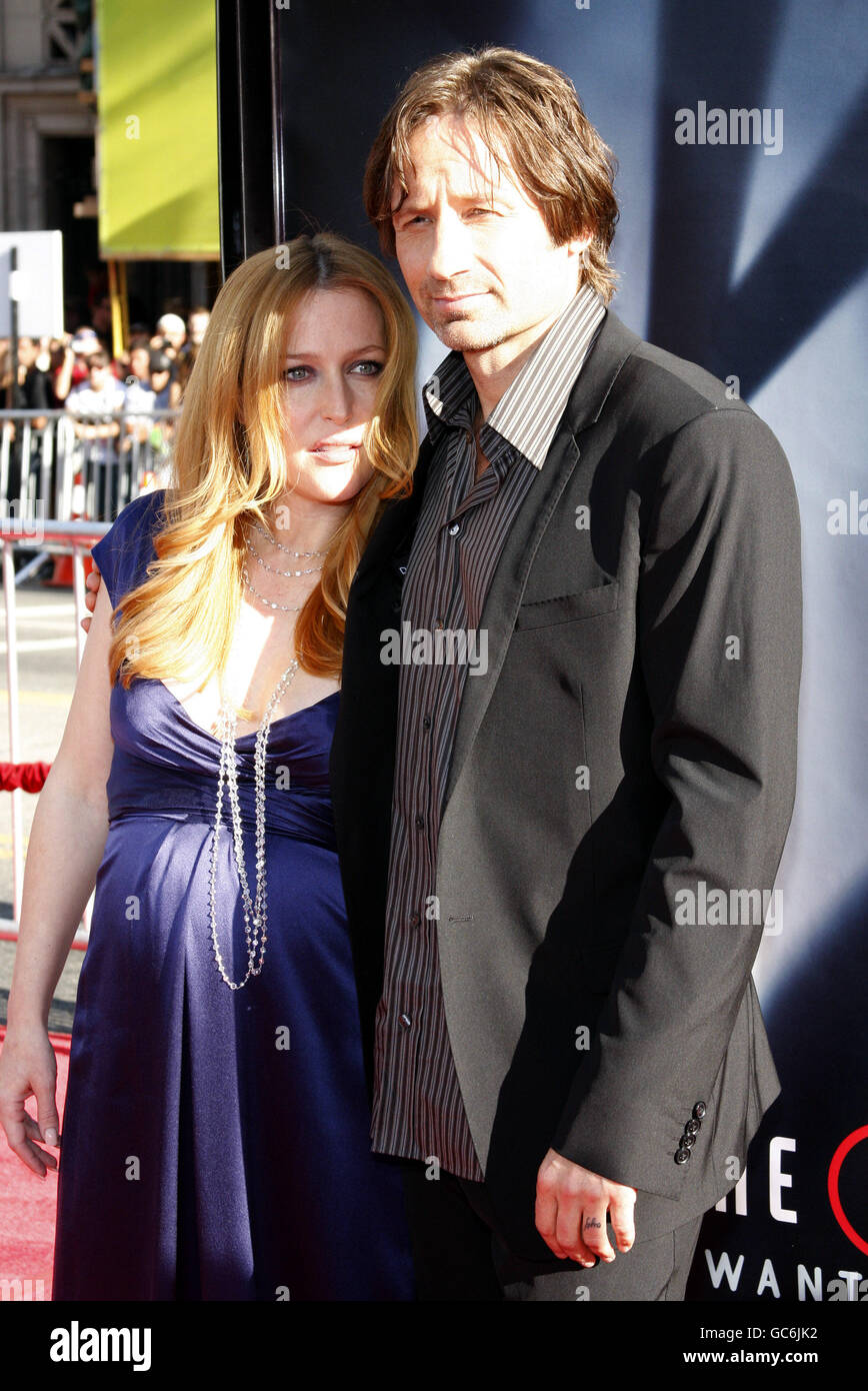 David Duchovny and Gillian Anderson at the Los Angeles Premiere of 'The X-Files: I Want To Believe' held - Stock Image