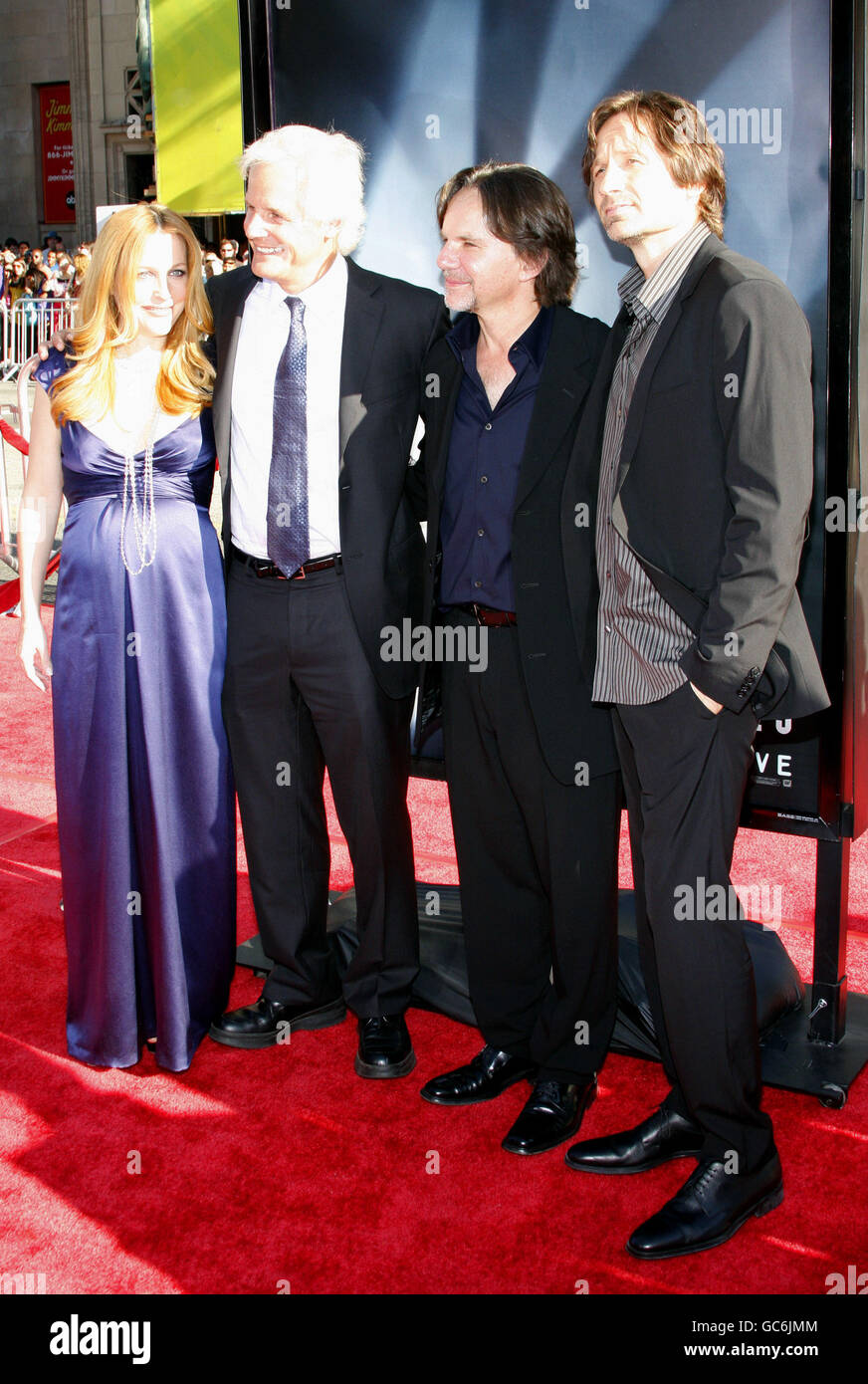 Chris Carter, Gillian Anderson and David Duchovny at the Los Angeles Premiere of 'The X-Files: I Want To Believe' - Stock Image