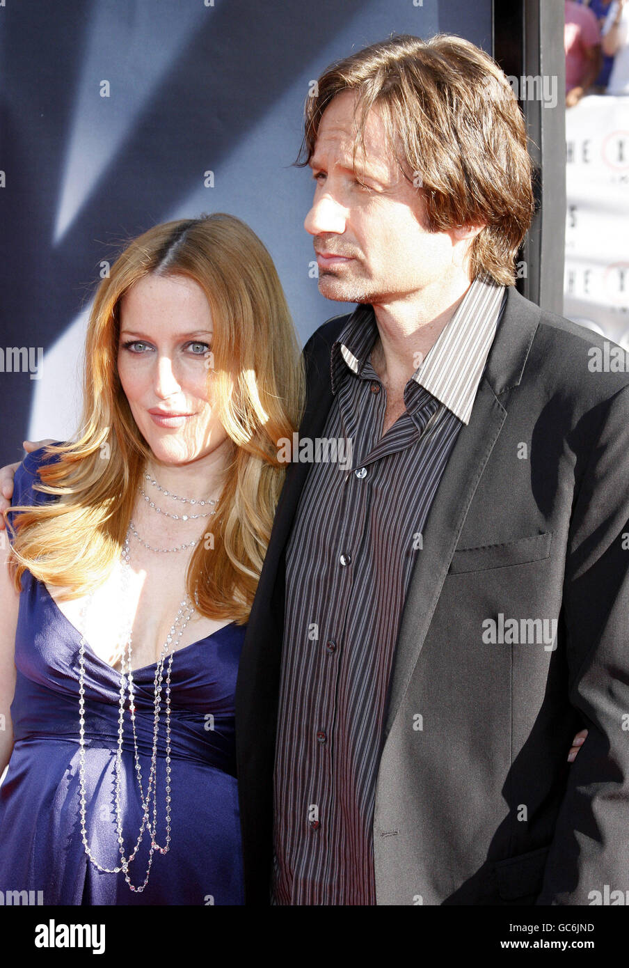 "David Duchovny and Gillian Anderson at the Los Angeles Premiere of ""The X-Files: I Want To Believe"" held in Hollywood. Stock Photo"