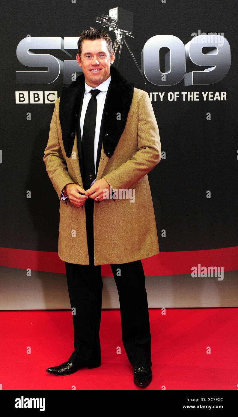 Lee Westwood arrives at the Sheffield Arena for the BBC Sports Personality of the year show, Sheffield, Sunday December - Stock Image